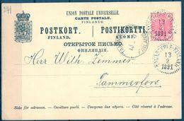 1891 , FINLANDIA , ENTERO POSTAL P25 CIRCULADO ENTRE TAVASTEHUS Y TAMMERFORS, LLEGADA - Briefe U. Dokumente
