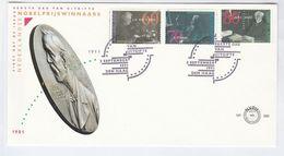 1991 NETHERLANDS FDC Nobel Prize HOFF, ZEEMAN, ASSER Stamps Cover Physics Chemistry Peace - Nobel Prize Laureates