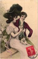 TRES BELLE FANTAISIE COUPLE ILLUSTREE SIGNE PAR SALMORRY  REF 53437 - Otros Ilustradores