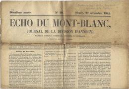 27 Decembre 1848 -; ECHO DU MONT-BLANC  , Journal De La Division D'Annecy - Documents Historiques