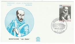"""Monaco // FDC // 1980 // 400ème Anniversaire Des """"Essais """" Montaigne - FDC"""