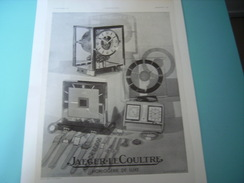 ANCIENNE PUBLICITE  JAEGER LE COULTRE HORLOGERIE DE LUXE 1937 - Bijoux & Horlogerie