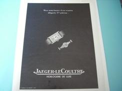 ANCIENNE PUBLICITE  MONTRE JAEGER LE COULTRE HORLOGERIE DE LUXE 1937 - Autres