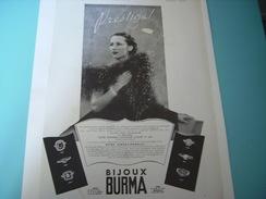 ANCIENNE PUBLICITE BIJOU PRESTIGE  BURMA 1937 - Bijoux & Horlogerie