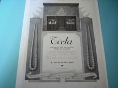 ANCIENNE PUBLICITE SPECIALISTE PERLE DE CULTURE TECLA 1937 - Bijoux & Horlogerie