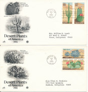 USA FDC 11-12-1981 Complete Set Of 4 Dessert Plants Of America On 2 Covers With ArtCraft Cachet - Cactusses