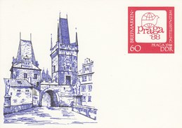"""DP 99 **  Briefmarken-Weltausstellung  """"PRAGA 1988"""" DDR - Brückenturmes Auf Der Karlsbrücke - Private Covers - Mint"""