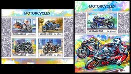 SIERRA LEONE 2017 - Motorcycles. M/S + S/S Official Issue. - Motorbikes