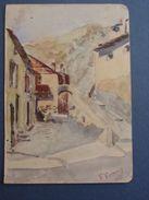 Alpes-Maritimes / Aquarelle Sur Papier Signée Verany (19)03-Village Haut-Pays,Vésubie ? Roya: Tende,La Brigue ?)... - Aquarel