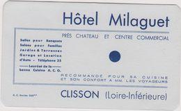 44 Clisson Hotel Milaguet  Publicite Carte Note - Publicités
