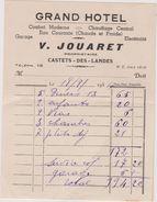 40 Castets Des Landes Facture  Grand Hotel Jouaret - Publicités