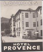 65  Lourdes  Imprime  Publicitaire  Hotel Provence - Reclame