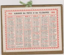 Calendrier 1933 Almanach Des Postes Et Des Telegraphes - Tamaño Pequeño : 1921-40