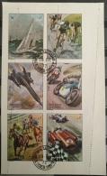 J27 - Sharjah 1972 Racing Sheet, Perforation Error Type 2, Cars, Horses, Yacht, Byc ... - Sharjah