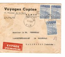 TP 771(3) Exportation S/L.En-Tête Voyages Copine C.Namur 9/8/1950 V.Salzbourg Autriche Via BXL C.d'arrivée 857 - Bélgica