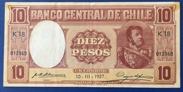 Chile, Chili Banco Central, 10 Pesos 1937. - Chili