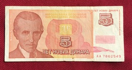 YUGOSLAVIA 5 NEW DINARA 1994, RARE - Joegoslavië