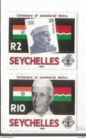 1989 Seychelles Nehru India Flags Complete Set Of 2 MNH - Seychelles (1976-...)