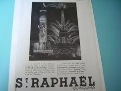 ANCIENNE PUBLICITE APERITIF ST RAPHAEL A L EXPO 1937 - Alcools