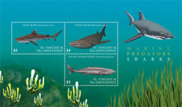 St. Vincent And The Grenadines 2017 Fauna Flora Marine Life Sharks -I70114 - Marine Life