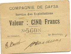 Billet Tunisie - Compagnie De Gafsa 5 Francs, Daté Du 25 Decembre 1915 Plusieurs Pli , RRR - Tunisia