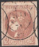 France Yvert 40B Oblit. Bien Margé Avec Voisin TB Sans Défaut Cote EUR 330+ (numéro Du Lot 274G) - 1870 Ausgabe Bordeaux
