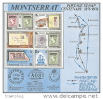 Montserrat,  Scott 2014 # 332a,  Issued 1976,  S/S Of 6,  NH,  Cat $ 4.25,  Stamps On Stamps - Montserrat