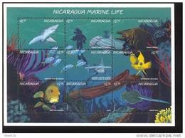 NICARAGUA   2188 MINT NEVER HINGED MINI SHEET OF FISH-MARINE LIFE - Marine Life