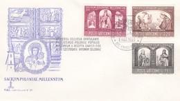 Vatikan FDC/ET 1966, Mi:502+505+507 .1000 Jahre Christentum In Polen. Hl. Herzogin Dabrowkw,Hedwig, Papst.Paul.VI - FDC