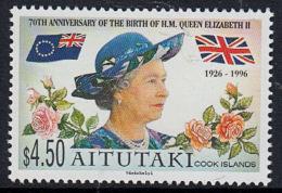 B5244 AITUTAKI 1996, SG 694 70th Birthday HM Queen Elizabeth 2nd,  MNH - Aitutaki
