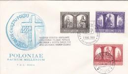 Vatikan FDC/ET 1966, Mi: 502-504 .1000 Jahre Christentum In Polen.  Poloniae Sacrum Millenium - FDC
