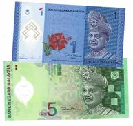 MALAYSIA 1 & 5 RINGGIT ND (2004-2011) P-51, 47 UNC [MY145a, 149a] - Malaysia