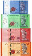 MALAYSIA 1 5 10 20 RINGGIT ND (2011-2012) P.51a-54a UNC SET [MY145a] - Malaysia