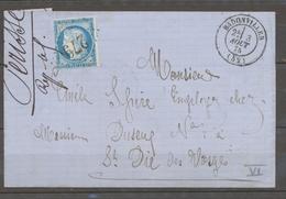 1875 Lettre N°60 Obl GC279 BADONVILLER CAD T17 MEURTHE(52) Superbe X1628 - Marcophilie (Lettres)