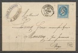 1869 Lettre N°29 Obl GC279 BADONVILLER CAD T15 MEURTHE(52) Superbe X1627 - Marcophilie (Lettres)