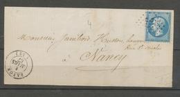 1867 Lettre N°22 Obl CAD T15 GC358 BADONVILLER MEURTHE(52) TB. X1629 - Marcophilie (Lettres)