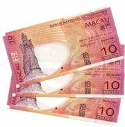 MACAU 10 PATACAS 2010 P-80b UNC 3 PCS [MO080b] - Macau