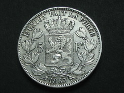 5 Francs 1867 -BELGIQUE - Leopold II Roi Des Belges **** EN ACHAT IMMEDIAT **** - 1865-1909: Leopold II