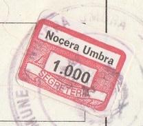 Nocera Umbra. 1986. Marca Municipale Diritti Di Segreteria L. 1.000, Su Certificato Di Residenza - Otros