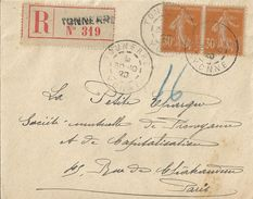 2367 TONNERRE Yonne Lettre Recommandée Semeuse 30c Orange Yv 141 X 2 Ob Type 84  30 10 1920 - France