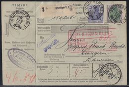 DR Paketkarte Mif Minr.148,150,3x 156, 3x 157 Stuttgart 18.2.22 Gel. In Schweiz - Deutschland