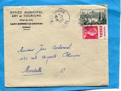 """MARCOPHILIE-LETTRE-avec Timbre N°1011 15FRS-Publicité"""" Margarine EXCEL"""" Cad 1957 - Advertising"""