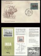 Indian Rhinoceros Rhino FDC & Folder 1962 Wild Animal Wildlife Mammal Rhinozeros Rhinocéros Indien Living Dinosaur - Rhinozerosse