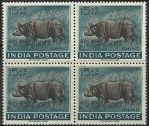 Indian Rhinoceros Rhino BLOCK Of FOUR 1962 Wild Animal Wildlife Mammal Rhinozeros Rhinocéros Indien Living Dinosaur - Rhinozerosse
