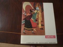 """MENU - COMPAGNIE DES MESSAGERIES MARITIMES - PAQUEBOT """" PIERRE LOTI """" 27 JUIN 1962 (Inde) - Boats"""