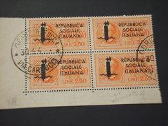 R.S.I. - ESPRESSI - 1944 FASCIO L. 2,50, In Quartina/block Of Four -TIMBRATO/USED - 4. 1944-45 Repubblica Sociale
