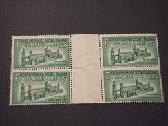 R.S.I. - ESPRESSI - 1944 MONUMENTO L. 1,25, In Quartina Con Ponte/block Of Four -NUOVO(++) - 4. 1944-45 Repubblica Sociale