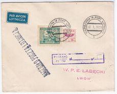 Poland Polska 1929 Warszawa, Aviation Plane, Lwow Ukraine - 1919-1939 Repubblica