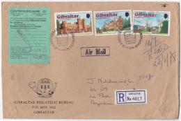 "GIVC001  Gibraltar 1978 Airmail Reg P.T.P.O. ""Philatelic Bureau"" Cover Nice Franking W/ Slogan To Argentina - Gibraltar"
