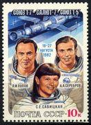 USSR Russia 1983 Soyuz Salyut Flight Cosmonauts Space Spacemen People Sciences Astronomy Stamp MNH Michel 5256 SG#5309 - Astronomie
